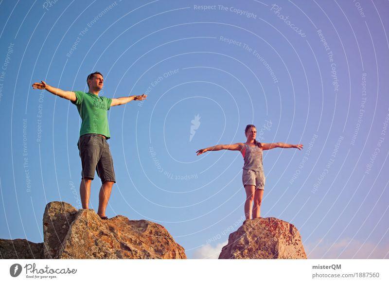 Gipfel Zwei Frau Himmel Mann Kunst Freiheit frei ästhetisch Fitness sportlich Partnerschaft Karriere Leichtigkeit Schweben ausgestreckt Freiheitsstatue