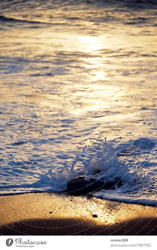 Wasserskulptur I Kunst Kunstwerk ästhetisch Wassertropfen Wasseroberfläche Wasserwirbel Meer Küste Wellen Gischt Urlaubsfoto Idylle friedlich Farbfoto