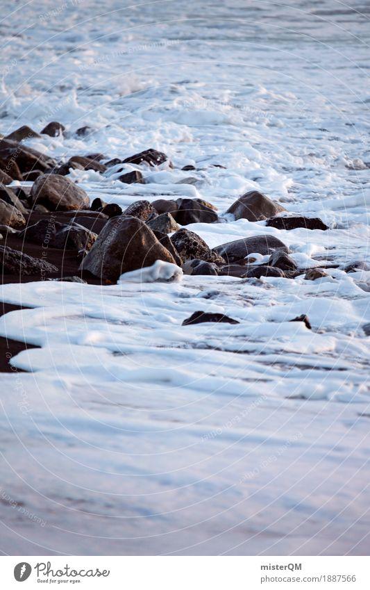 Flut. Wasser weiß Meer Küste Kunst Stein Felsen Wellen ästhetisch Urelemente Brandung Klippe Schaum Gischt Urlaubsfoto