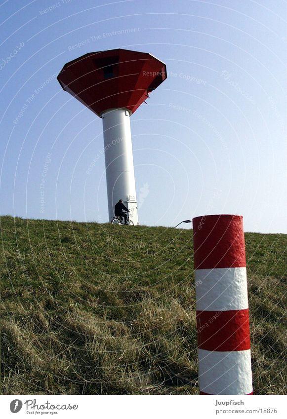 Turm und Türmchen Deich Freizeit & Hobby Leuchtfeuer Meer Bremerhaven Dinge Leuchttrum Nordsee rot-weiß