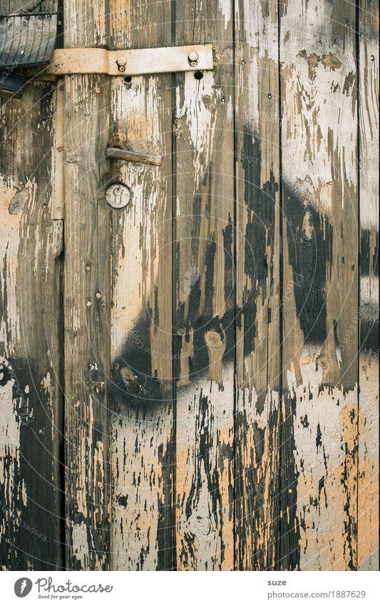 Trash 2016 | Bitte klopfen! Mauer Wand Tür Holz Schloss alt dreckig kaputt braun stagnierend Verfall Vergangenheit Vergänglichkeit geschlossen Holzwand