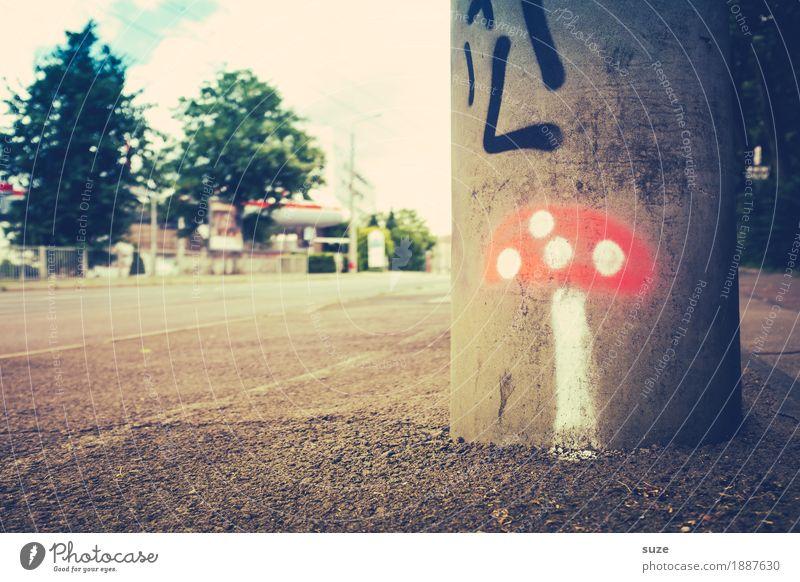 Orientierung | für Stadtaffen rot Straße Graffiti klein niedlich Fußweg Punkt Richtung Bürgersteig Laterne Sammlung Pilz Rauschmittel Leipzig unterwegs