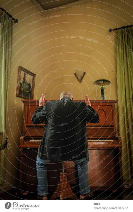 Last but not least Stil Freude Freizeit & Hobby Musik Mensch maskulin Mann Erwachsene Männlicher Senior Rücken 45-60 Jahre Kultur Konzert Musiker Klavier Jacke