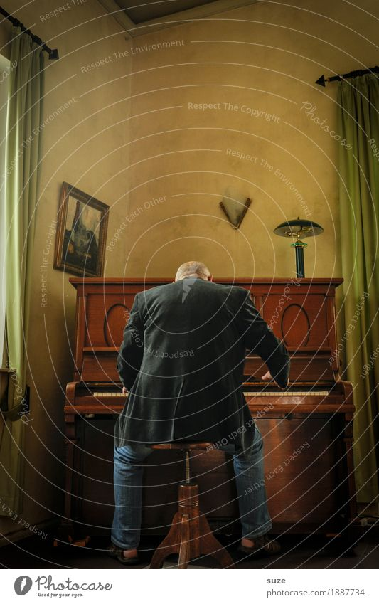 Der Pianist Mann alt Stimmung Musik Rücken hören Jacke Klaviatur Klavier klassisch Klassik Jazz Hocker