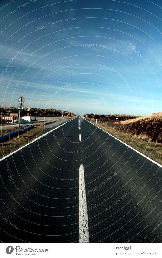 Bis zum Horizont Himmel blau weiß Wolken Landschaft Straße Sand Stein Linie Horizont Erde braun laufen Schilder & Markierungen Beton Verkehr