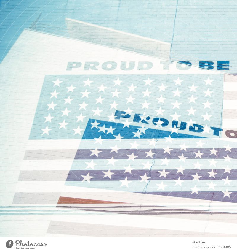 PROUD Doppelbelichtung San Diego USA Stars and Stripes Stolz proud to be Farbfoto Außenaufnahme Experiment Strukturen & Formen