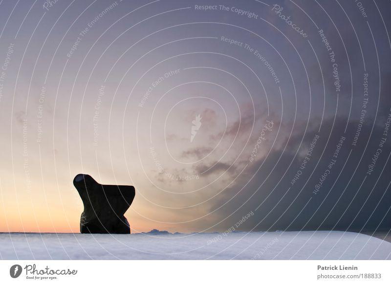 icebox Himmel Wolken Winter Schnee Meer ruhig Bank Stein Aussicht Dänemark Silhouette Pause kalt Wind Farbfoto Außenaufnahme Menschenleer Textfreiraum rechts