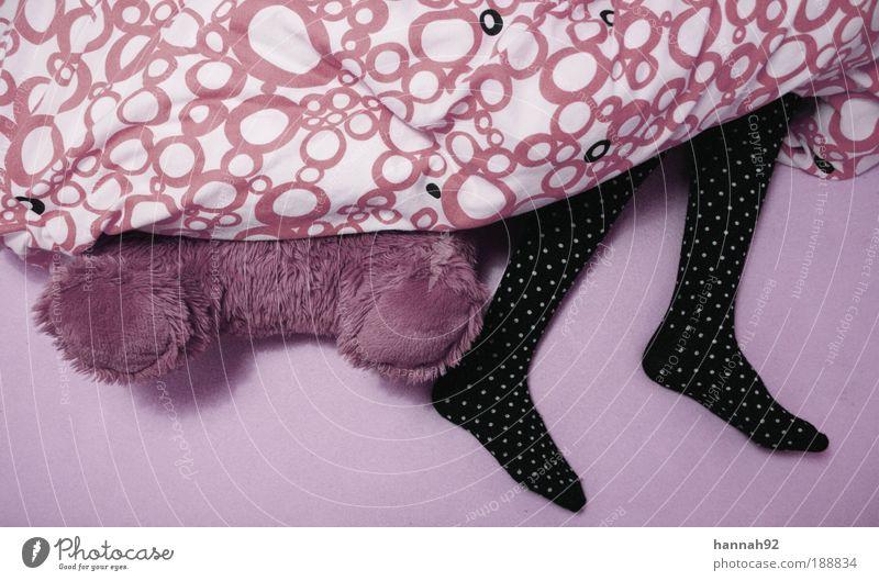 verspielt. Spielen Bett Kinderzimmer Schlafzimmer Mensch feminin Mädchen Junge Frau Jugendliche Kindheit Leben Beine Fuß 1 Zufriedenheit schlafen Teddybär