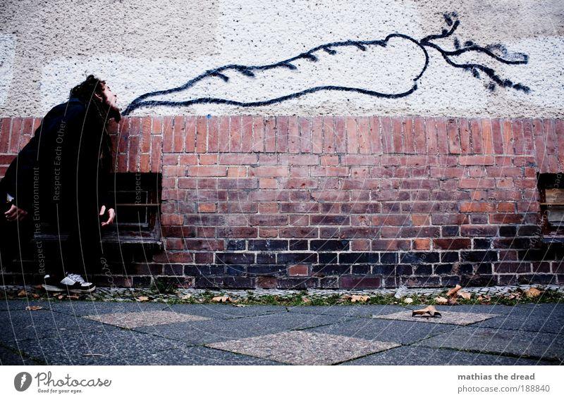1100 - GOOD FOR YOUR EYES Lebensmittel Gemüse Möhre Mensch maskulin Junger Mann Jugendliche 18-30 Jahre Erwachsene Stadt Bauwerk Gebäude Architektur Mauer Wand