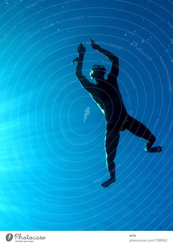 deep blue Wasser Sonne Meer blau schwarz Ferne Sport Leben Freiheit Glück See Mensch Körper elegant nass