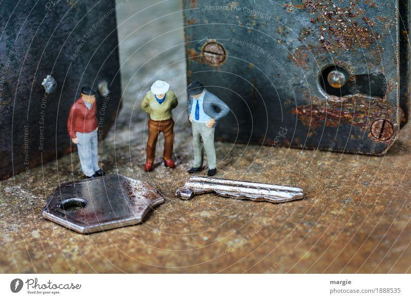 Miniwelten - Was nun? Beruf Handwerker Baustelle Dienstleistungsgewerbe Technik & Technologie Mensch maskulin Mann Erwachsene 3 Metall braun Türschloss