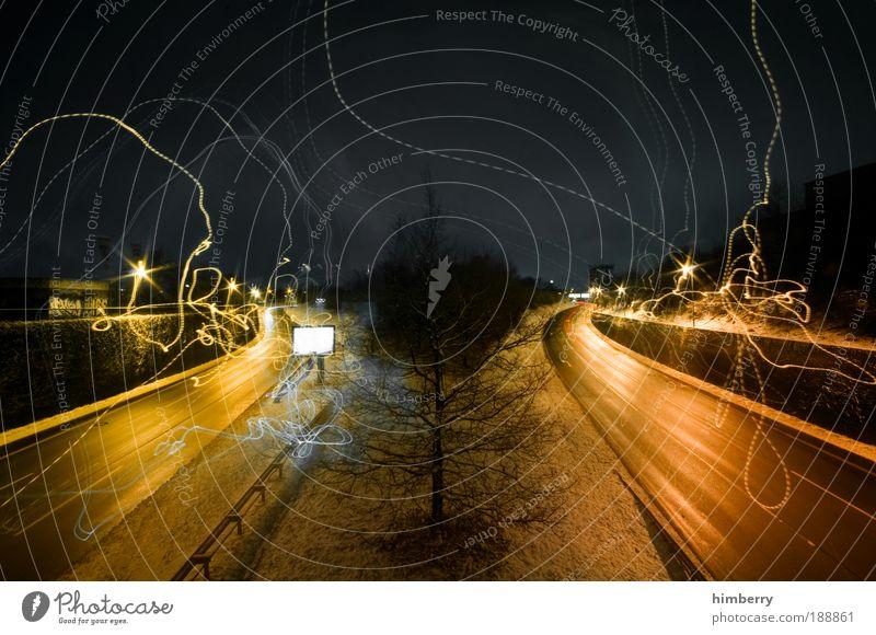 pro&contra Baum Winter Straße dunkel Schnee Umwelt Klima Bewegung Wege & Pfade Licht Wetter Eis Langzeitbelichtung Verkehr Energiewirtschaft Geschwindigkeit