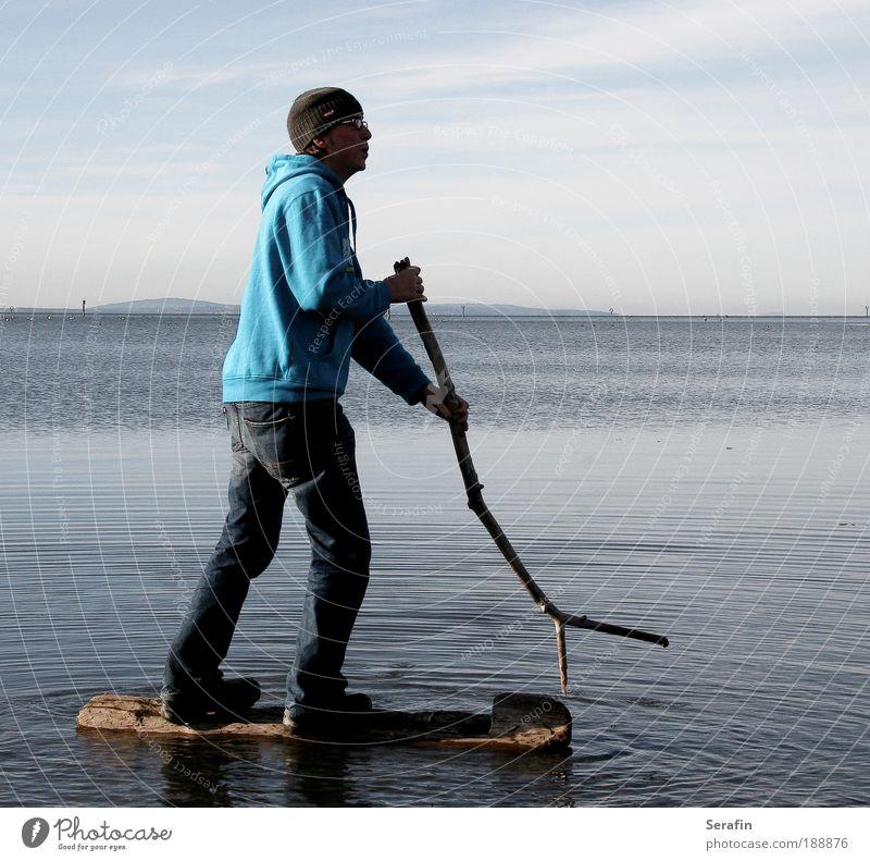 Venedig spielen Freude Ferien & Urlaub & Reisen Wassersport maskulin Junger Mann Jugendliche 1 Mensch 18-30 Jahre Erwachsene See Pullover Mütze blau