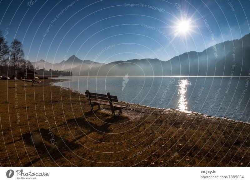 Schattenplatz Himmel Natur Ferien & Urlaub & Reisen blau Sonne Landschaft Erholung Einsamkeit ruhig Berge u. Gebirge Umwelt Religion & Glaube Herbst Wiese