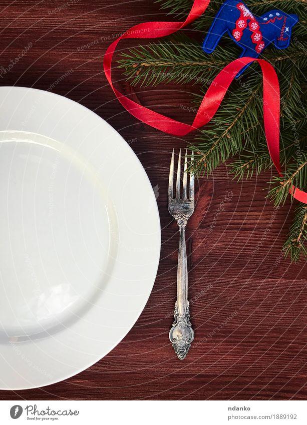 Weihnachten & Advent weiß Speise Holz braun oben Metall elegant Aussicht Tisch Schnur Restaurant Geschirr Teller Abendessen Top