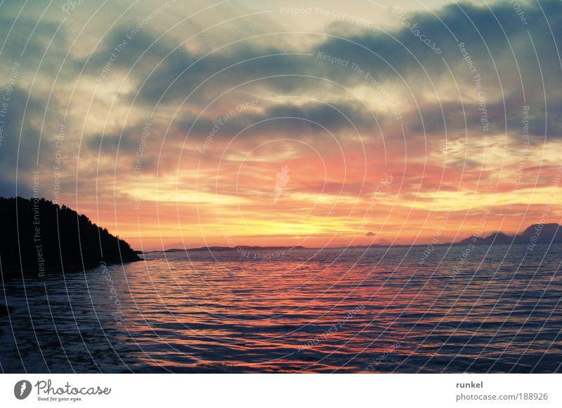 Mitternachtssonne Natur Wasser Meer blau Sommer Ferien & Urlaub & Reisen ruhig Wolken gelb Freiheit Landschaft Stimmung gold Horizont harmonisch Fjord