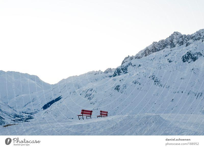 apres ski 1 weiß blau rot Winter Ferien & Urlaub & Reisen ruhig Einsamkeit Ferne kalt Schnee Erholung Berge u. Gebirge Freiheit Eis hell Wetter