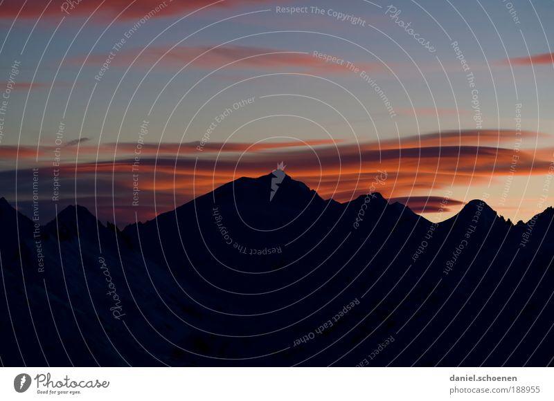 apres ski 2 Natur Himmel blau rot Ferien & Urlaub & Reisen ruhig Wolken Schnee Berge u. Gebirge Landschaft Luft Eis Wind Wetter Umwelt Frost