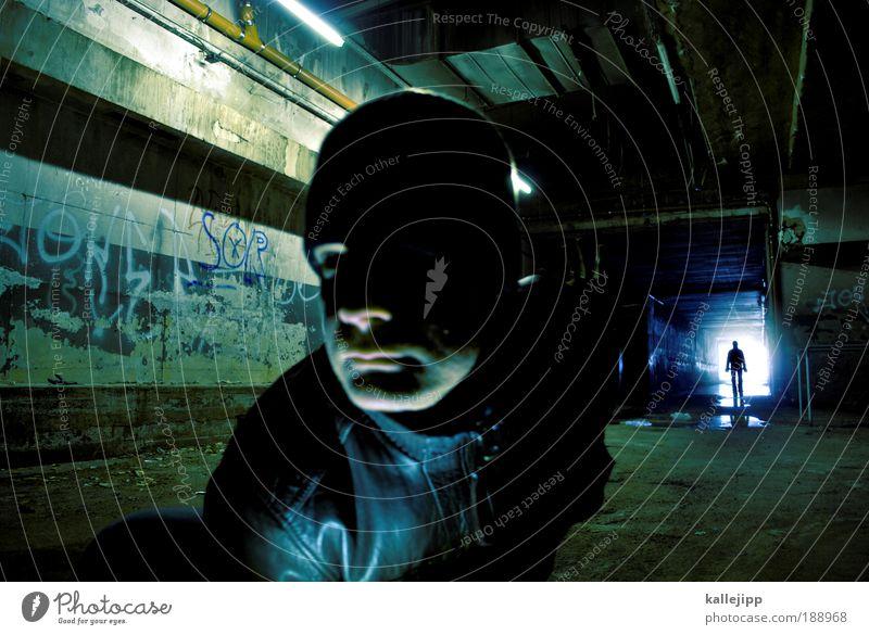 second life Mensch maskulin Mann Erwachsene Leben Nase Mund Lippen 2 30-45 Jahre Tunnel beobachten entdecken hocken Blick stehen leuchten dreckig Ferne