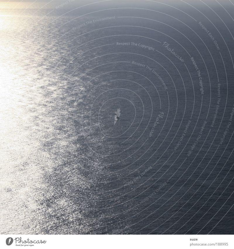 Das große Wasser Natur Wasser Sonne Ferien & Urlaub & Reisen Meer Einsamkeit Ferne Freiheit Zeit Wasserfahrzeug Reisefotografie leuchten Schönes Wetter Segelboot vergessen Expedition