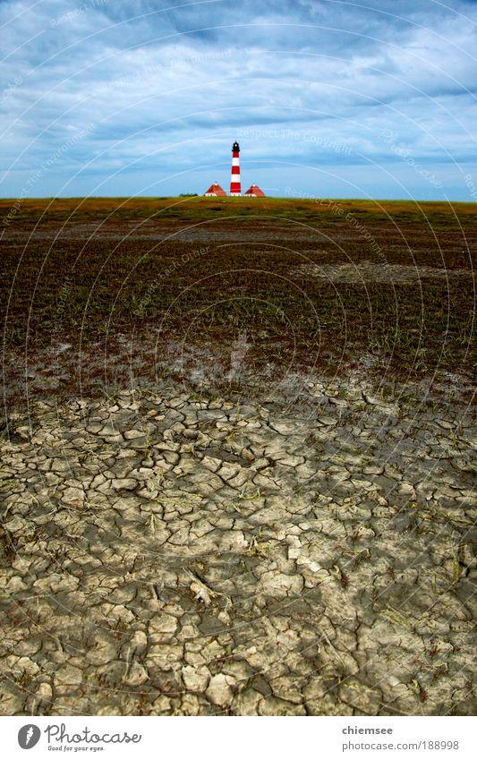 Leuchtturm Westerhever Ferien & Urlaub & Reisen Tourismus Ausflug Meer Natur Landschaft Erde Klima Nordsee Wattenmeer Wattwandern Sand Ferne frei Unendlichkeit