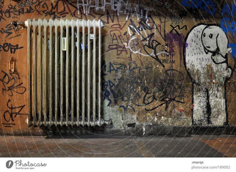 Verheizt Lifestyle elegant Stil Design Renovieren Innenarchitektur Energiewirtschaft Energiekrise Heizkörper Subkultur Umwelt Mauer Wand Schriftzeichen Graffiti