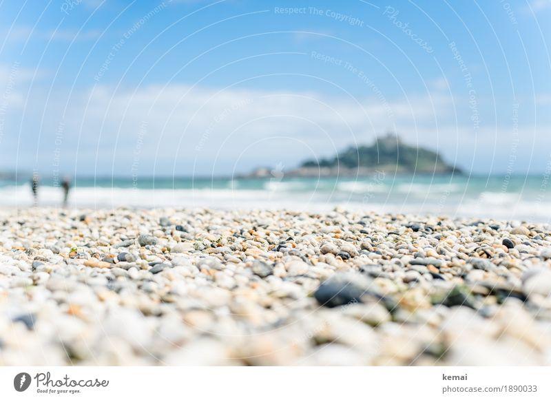 Peppled beach Himmel Natur Ferien & Urlaub & Reisen blau Sommer Meer Erholung Wolken ruhig Strand Freiheit Tourismus hell Freizeit & Hobby Zufriedenheit Ausflug