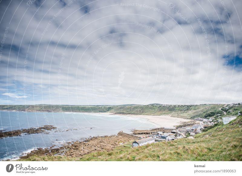 Cornish beach Himmel Natur Ferien & Urlaub & Reisen schön Wasser Landschaft Meer Erholung Haus Wolken ruhig Ferne Strand Umwelt Küste Tourismus