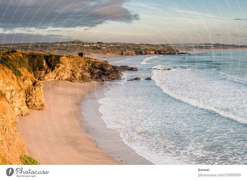Evening, being glorious Himmel Natur Ferien & Urlaub & Reisen Sommer Meer Landschaft Erholung Wolken ruhig Ferne Strand Wärme Küste Freiheit Felsen Zufriedenheit