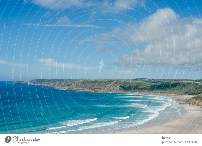 Blue / Blau / Bleu harmonisch Erholung Freizeit & Hobby Ferien & Urlaub & Reisen Tourismus Ausflug Ferne Freiheit Sommer Sommerurlaub Strand Meer Wellen Umwelt