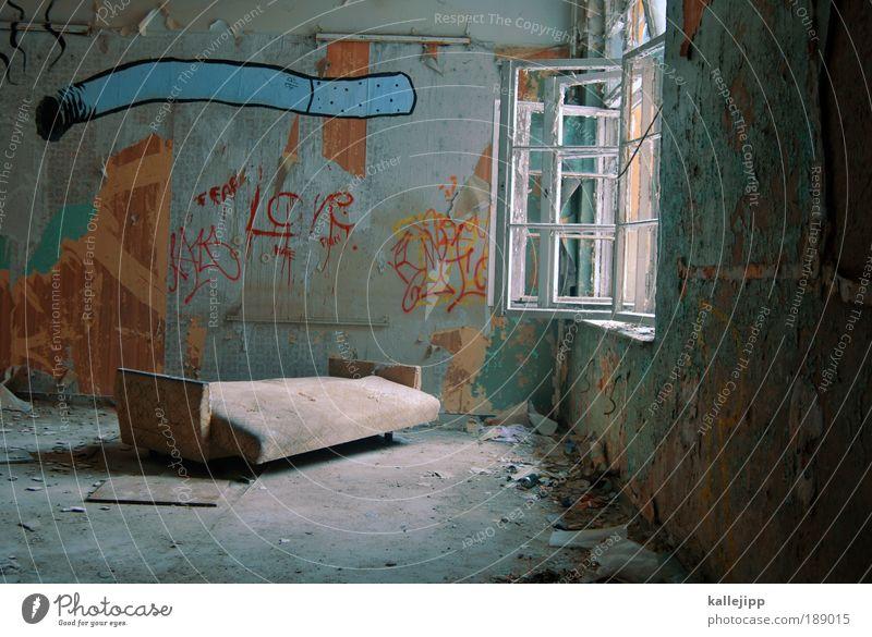 raucherzimmer Haus Graffiti Stil Innenarchitektur Wohnung elegant kaputt Häusliches Leben Lifestyle Rauchen Sofa Verfall Zigarette Fensterscheibe Renovieren
