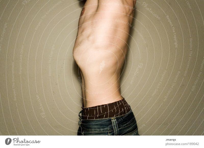 Haltung Lifestyle Körper Gesundheitswesen Übergewicht Sportler Mensch Mann Erwachsene Leben Brust Bauch 18-30 Jahre Jugendliche Bewegung stehen dünn