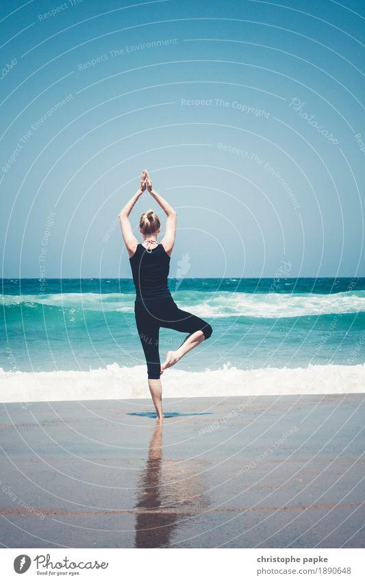 Baum am Meer Wohlgefühl Zufriedenheit Sinnesorgane Erholung ruhig Meditation Ferien & Urlaub & Reisen Sommer Sommerurlaub Yoga feminin Frau Erwachsene 1 Mensch