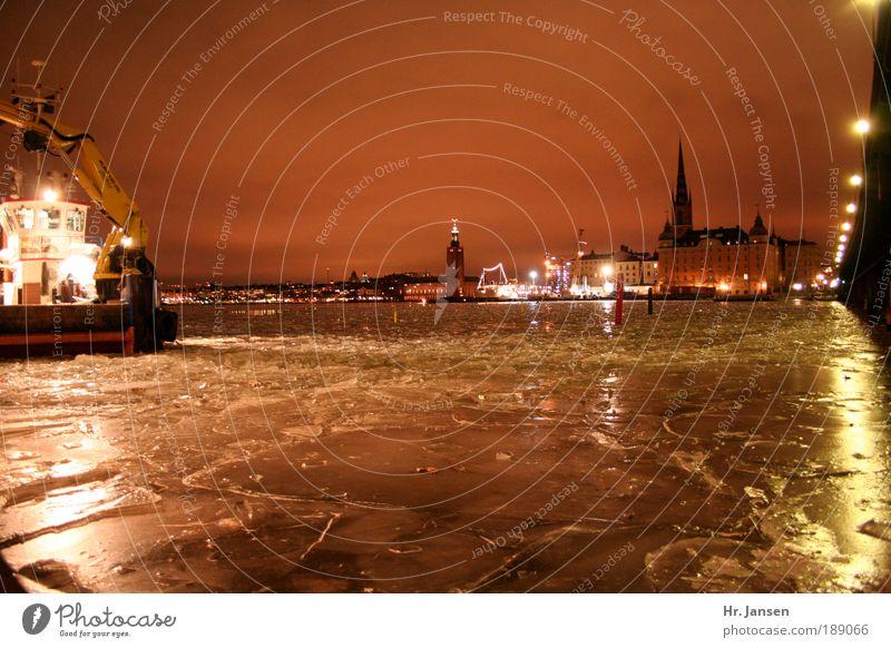 Stockholm building lot Wasser Stadt Winter Leben Kraft Industrie Brücke Nachthimmel Licht bauen Natur