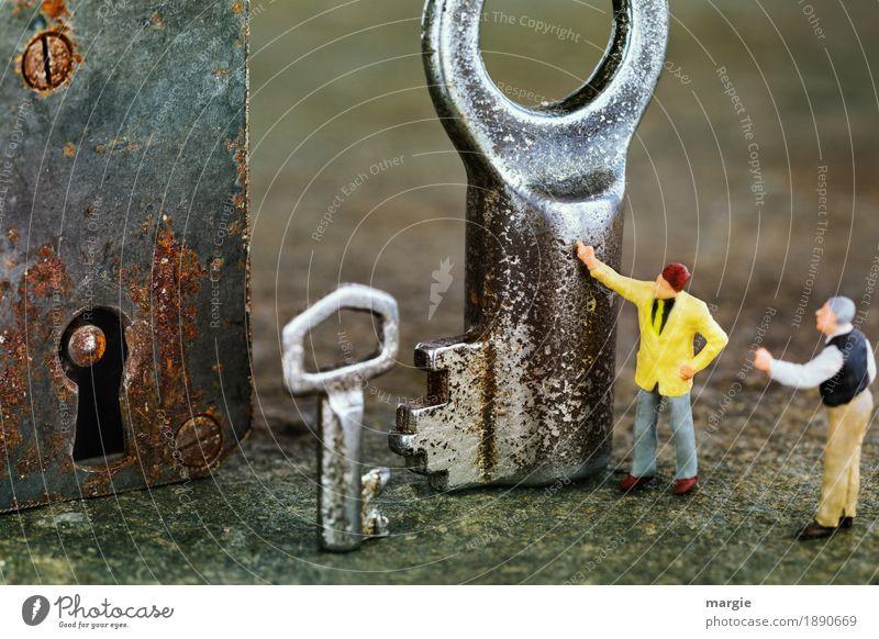 Miniwelten - Nein, der Kleine! Arbeitsplatz Baustelle Dienstleistungsgewerbe Handwerk Technik & Technologie Mensch maskulin Mann Erwachsene 2 braun gelb