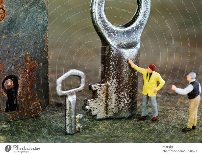 Miniwelten - Nein, der Kleine! II Arbeitsplatz Baustelle Dienstleistungsgewerbe Technik & Technologie Mensch maskulin Mann Erwachsene 2 gelb silber