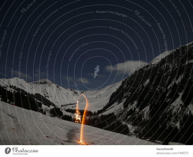 Leider nicht übern Berg geschafft Landschaft Wolkenloser Himmel Winter Schnee Wald Berge u. Gebirge Schneebedeckte Gipfel frieren glänzend Ferne frei gigantisch