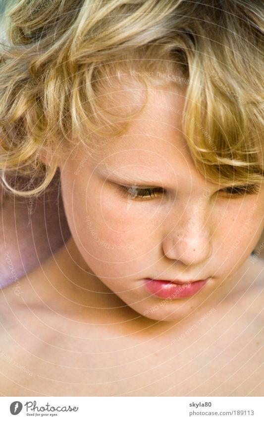 Goldschatz Kind blond Junge Gesicht Haare & Frisuren Locken Blick verträumt nachdenklich süss Kinderbetreuung perfekt lockig Kopf Kindergesicht