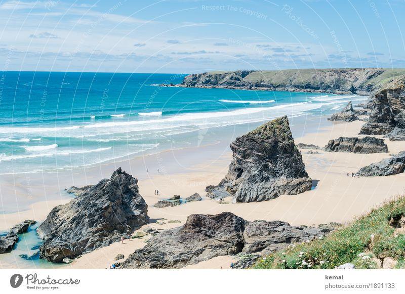 Bedruthan Steps Himmel Natur Ferien & Urlaub & Reisen Sommer schön Meer Landschaft Wolken ruhig Ferne Strand Umwelt Leben Küste außergewöhnlich Tourismus