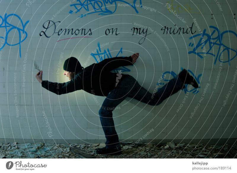 you are always on my mind Mensch Mann Erwachsene Graffiti Angst laufen gefährlich Schriftzeichen rennen Todesangst Wut Gewalt Stress trashig Zukunftsangst