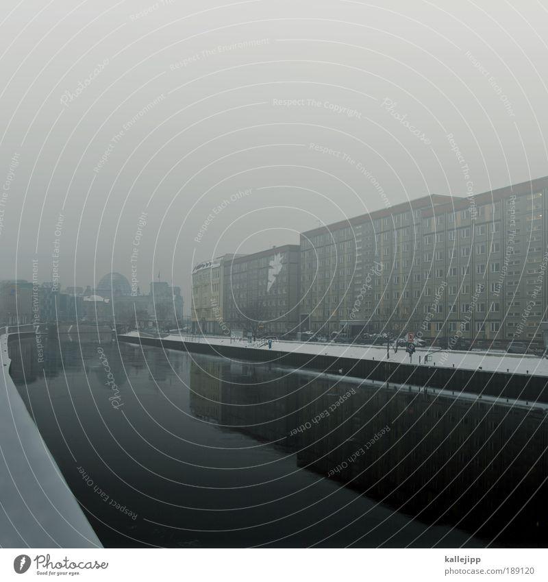 plattensee Umwelt Winter Wetter Nebel Eis Frost Schnee Küste Flussufer Hauptstadt Haus Hochhaus Hafen Sehenswürdigkeit Wahrzeichen Deutscher Bundestag Tourismus