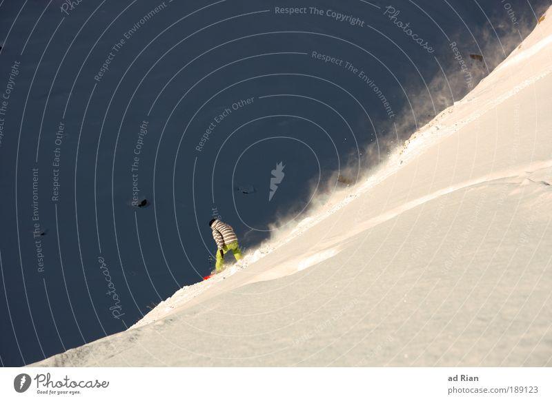 swoosch..... Stil Freude Sport Wintersport Snowboard Skipiste Mensch Natur Landschaft Schönes Wetter Eis Frost Schnee Alpen Berge u. Gebirge Linie fahren