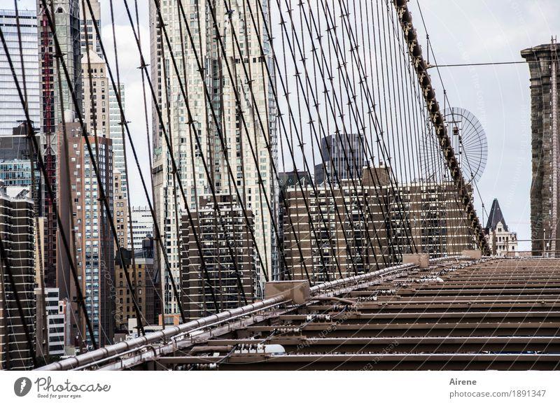 Drahtverhau New York City Amerika Stadt Stadtzentrum Skyline Hochhaus Brücke Hängebrücke Fassade Strebe Seil Stahlkabel Drahtseil Verstrebung Brooklyn Bridge