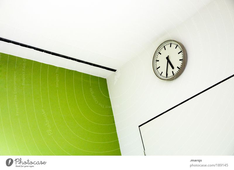 Zeitmanagement weiß grün Farbe Architektur Schule Stil Büro Business Innenarchitektur Arbeit & Erwerbstätigkeit Freizeit & Hobby elegant warten Uhr Design