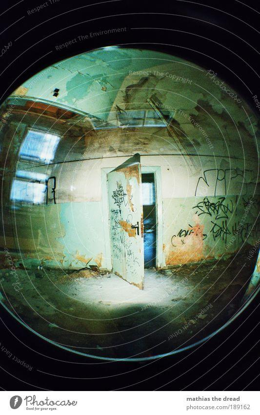 OPEN DOOR Industrieanlage Fabrik Ruine Mauer Wand Fassade Tür Zeichen Schriftzeichen Graffiti alt dunkel fantastisch Unendlichkeit gruselig einzigartig rund