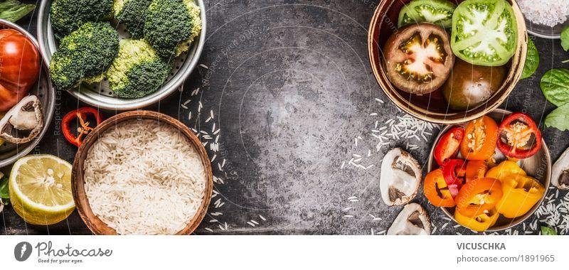 Reis und Gemüse gelb Leben Gesundheit Stil Lebensmittel Design Ernährung Kräuter & Gewürze Küche Fahne Getreide Bioprodukte Geschirr Schalen & Schüsseln