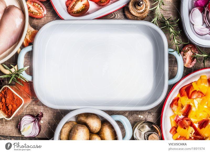 Lecker Kochen mit Hähnchen und Gemüse Lebensmittel Fleisch Kräuter & Gewürze Öl Ernährung Mittagessen Abendessen Bioprodukte Diät Geschirr Schalen & Schüsseln