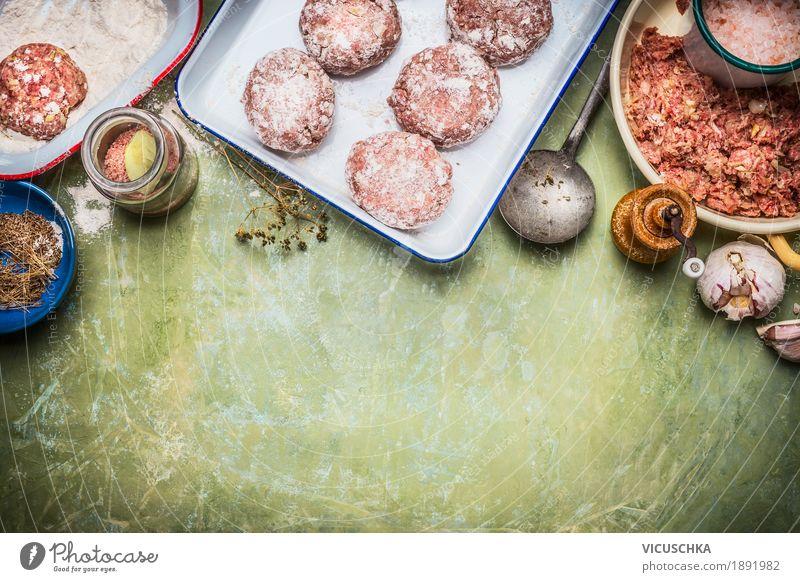Fleisch Buletten Zubereitung mit Zutaten Foodfotografie Stil Lebensmittel Design Ernährung Tisch Kräuter & Gewürze Küche Bioprodukte Restaurant Geschirr