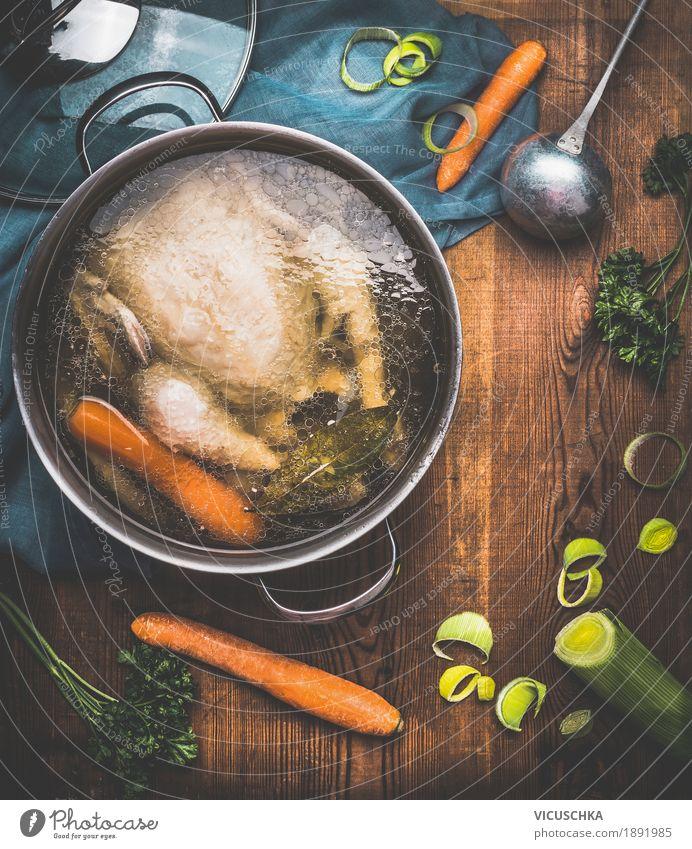 Hühnersuppe Kochen Lebensmittel Fleisch Gemüse Suppe Eintopf Kräuter & Gewürze Ernährung Mittagessen Festessen Bioprodukte Diät Geschirr Topf Löffel Stil Design