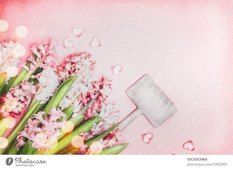 Schöne Frühlingsblumen mit Herzen und Schild Natur Pflanze Blume Blatt Blüte Stil Garten Feste & Feiern Design rosa Dekoration & Verzierung